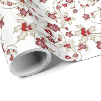 Red Christmas Flowers and Holly Berries Wrapping Paper