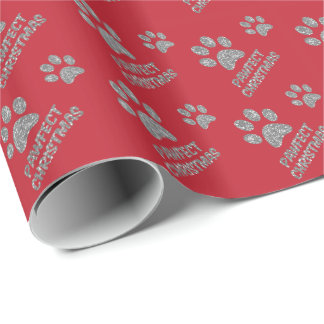 RED CHRISTMAS GIFT WRAP PAPER DOGS SILVER GLITTER