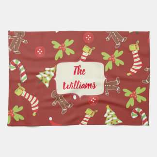 Red Christmas Gingerbread Holiday Tea Towel