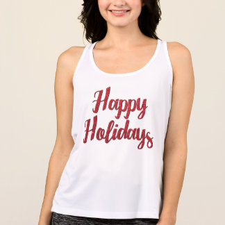 Red Christmas Glitter Text Happy Holidays Singlet