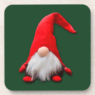 Red Christmas Gnome on Green Coaster