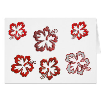 Red Christmas Hibiscus Card