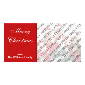 Red Christmas Holiday Card with One Custom Photo Picture Card
