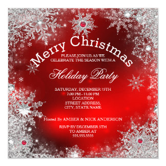 Red Christmas Holiday Party Winter Wonderland Card