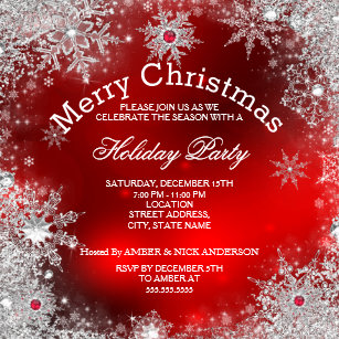 Christmas Red.Red And White Christmas Invitations Announcements Zazzle