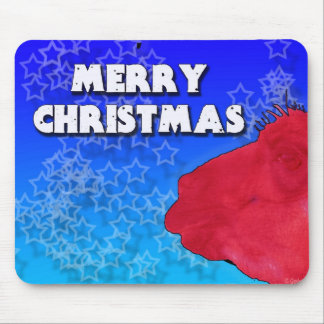Red Christmas Llama with Holiday Star Studded Sky Mouse Pad