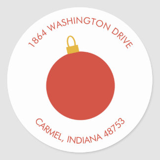 Red Christmas Ornament Holiday Return Address Round Sticker
