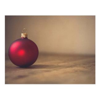 Red Christmas Ornament Minimalist Postcard