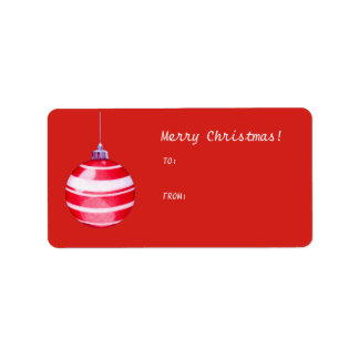 Red Christmas Ornament red Gift Tag Label Address Label