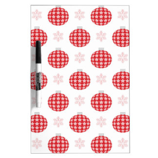 Red christmas ornaments dry erase board