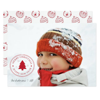 Red Christmas Ornaments Holiday Photo Card
