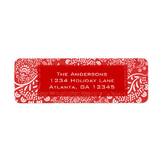 Red Christmas Paisleys Return Address Return Address Label