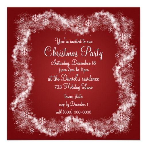 Red Christmas Party Invitations