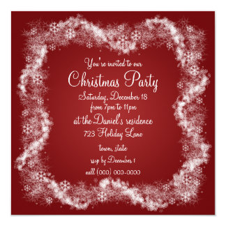 Red Christmas Party Invitations Holiday Xmas