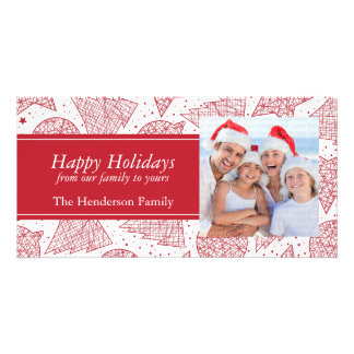 Red Christmas Pattern Holiday Photo Card