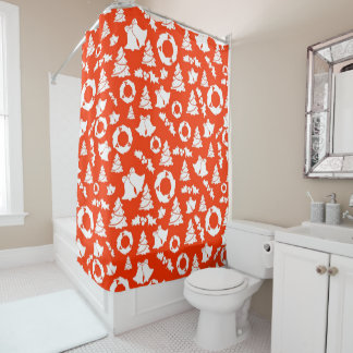 Red Christmas Pattern Shower Curtain
