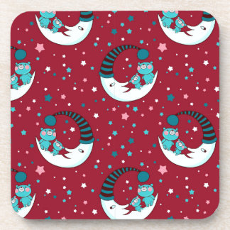 Red Christmas Pattern with the Moon and Bears Drink Coasters