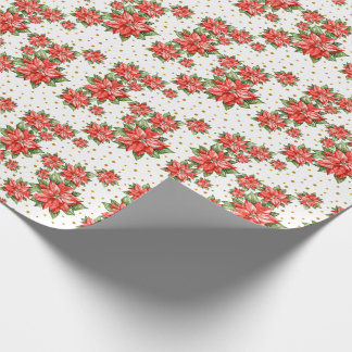 Red Christmas Poinsettia Pattern Wrapping Paper