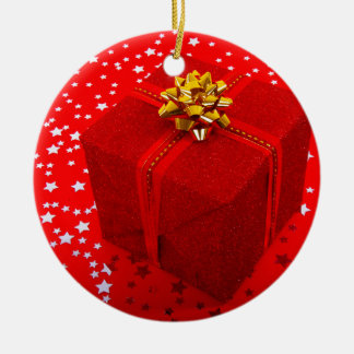 Red Christmas Present Box Ceramic Ornament