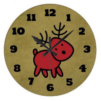 Red Christmas Reindeer Illustration Large Clock