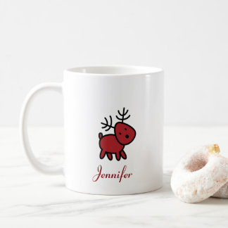 Red Christmas Reindeer Illustration Personalized Coffee Mug