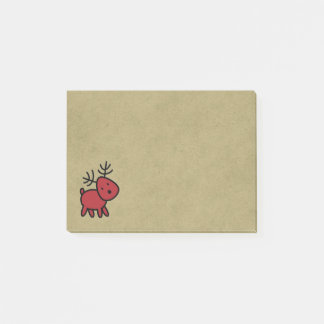 Red Christmas Reindeer Illustration Post-it Notes