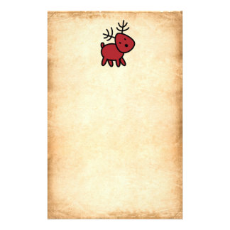 Red Christmas Reindeer Illustration Stationery