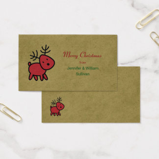 Red Christmas Reindeer Merry Christmas Business Card