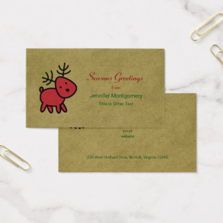 Red Christmas Reindeer Seasons Greetings Business Card
