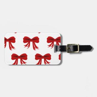 Red Christmas Ribbon Travel Bag Tags