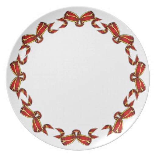 Red Christmas Ribbons Trimmed in Gold Party Plates