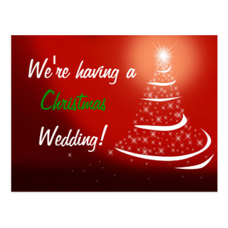 Red Christmas Save the Date Postcard