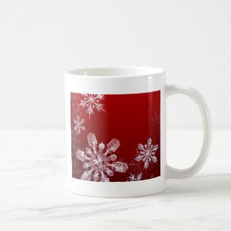 Red Christmas snowflake background Coffee Mug