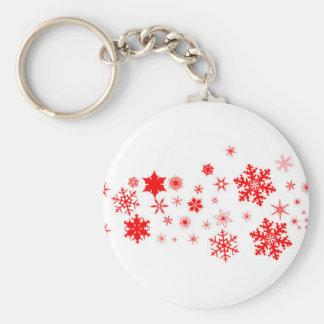 Red Christmas Snowflake  Banner Key Ring