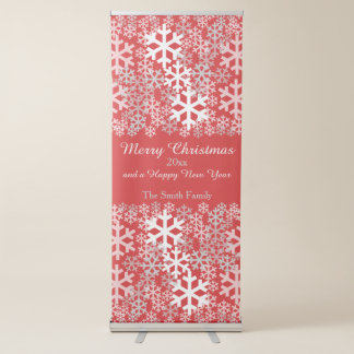 Red Christmas Snowflakes Pattern Greetings Retractable Banner