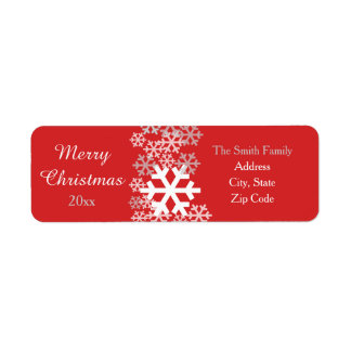 Red Christmas Snowflakes Pattern Greetings Return Address Label