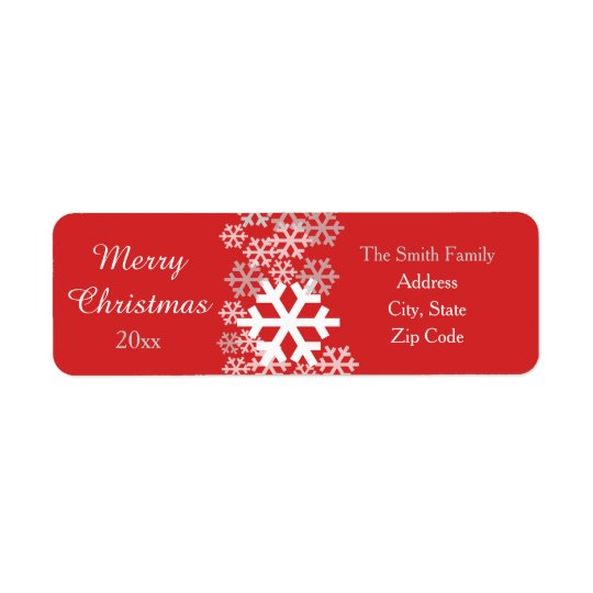 Red Christmas Snowflakes Pattern Greetings Return Address Label