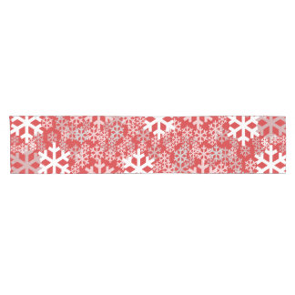 Red Christmas Snowflakes Pattern Short Table Runner