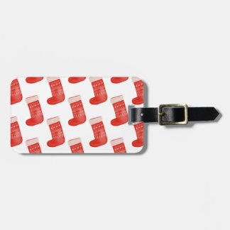Red Christmas Socks Cute Winter Pattern Holiday Luggage Tag