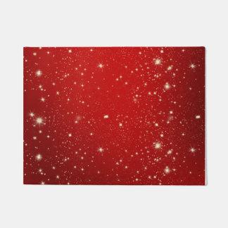 Red Christmas Stars Holiday Glitter Doormat