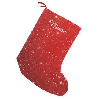 Red Christmas Stars Holiday Glitter Small Christmas Stocking