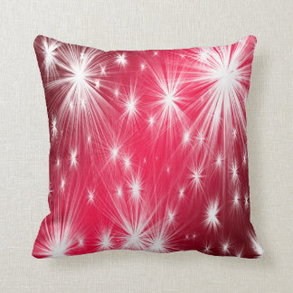 Red Christmas stars with snowflakes and poinsettia Cushion