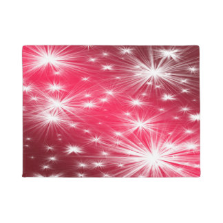 Red Christmas stars with snowflakes and poinsettia Doormat