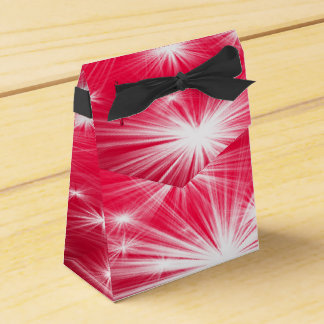 Red Christmas stars with snowflakes and poinsettia Favour Box
