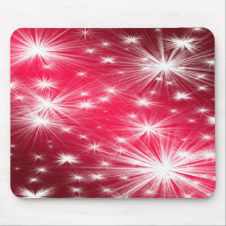 Red Christmas stars with snowflakes and poinsettia Mouse Pad