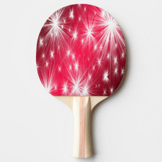 Red Christmas stars with snowflakes and poinsettia Ping Pong Paddle