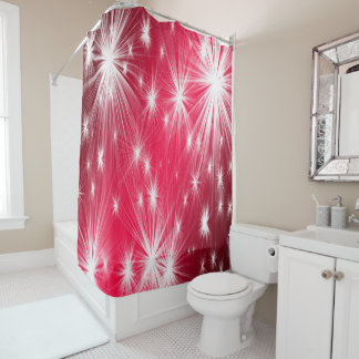 Red Christmas stars with snowflakes and poinsettia Shower Curtain