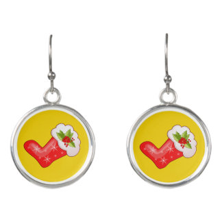 Red Christmas Stockings on Yellow Earrings