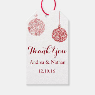 Red Christmas Thank You Gift Tag