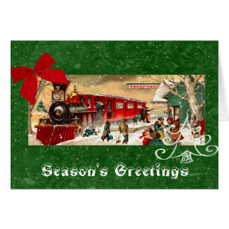 Red Christmas Train Engine Green Background Card